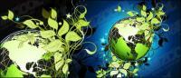 สีเขียวใบไม้เวกเตอร์วัสดุของโลก