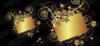 Material de vectores de patrón de mariposa oro