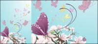 Material de vetor de borboletas e flores roxas