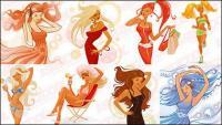 आधुनिक फैशन की प्रवृत्ति महिलाओं वेक्टर -2