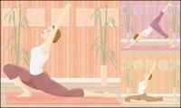 Movimento de ioga de material de vetor feminino