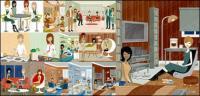 Ilustración vectorial de serie de hombres y mujeres de moderno material-3