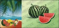 La fiesta de la playa de frutas de vectores de material