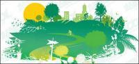 Grüne Häuser Vektor-material