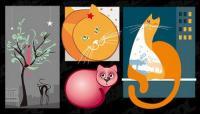 милые кошки векторные иллюстрации материал
