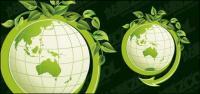Hojas verdes con el vector de material del tierra