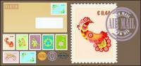 Cachet timbre enveloppe vecteur matériel
