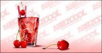 Material de vetor de sabores cereja bebida fria