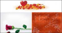 メープル リーフ バラのハート形の壁材料ベクトル