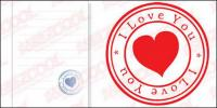Vecteur de matériel de sceau en forme de cœur