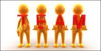 Matériau 3D photo petite équipe