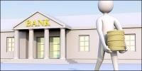 Bancos 3D para mover dinero desde el imagen poco material