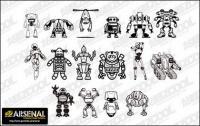 Vá material de vetor de tendência de produção de mídia Set13-robô