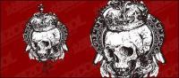 Matériau de vecteur pour le crâne noir et blanc
