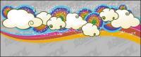 लवली इंद्रधनुष बादलों की प्रवृत्ति वेक्टर पृष्ठभूमि सामग्री