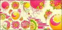 Ronda de flores rosas encantadoras con la tendencia del vector de material