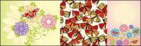 蛾、素敵な花ベクトル材料