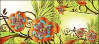 Matériau de vecteur de boîte exquis fleur décorative