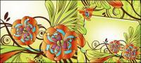 Material de vectores de cuadro de exquisita flor decorativa