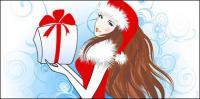 クリスマスのベクトルの素材女の子