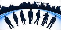 Gente de negocios y silueta de construcción urbana