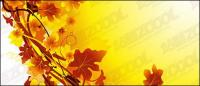 ในฤดูใบไม้ร่วงของเวกเตอร์วัสดุของพืชหวาย