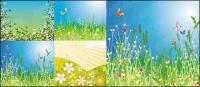 花と蝶素材をベクトルします。