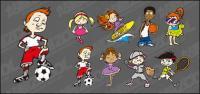 Karakter kartun lucu gerakan vektor bahan