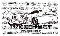 caricature classique en noir et blanc véhicules automobiles vecteur conception matériel