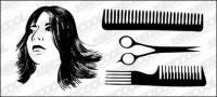 Material de vectores de pelo corte de pelo