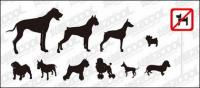 Vektor siluet dari berbagai bahan anjing