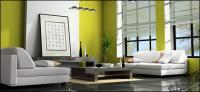 Зеленый современной гостиной фотография материал
