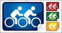 Двойной велосипедного угол значка