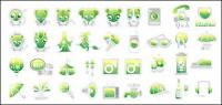 Green cute icon vector material