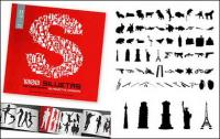 Álbum de 1000 diversos silhouette vector material-10