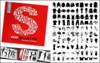 1000-Album, das verschiedene silhouette vektor Material-9