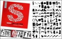 альбом 1000 различных силуэт векторный материал-7