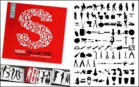 álbum de 1000 varios silueta vector material-6