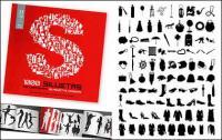 Álbum de 1000 diversos silhouette vector material-8
