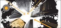 La tendencia de la ilustración de edificios urbanos de material de vectores