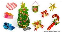 冬の衣類およびクリスマスのアイコン素材をベクトルします。