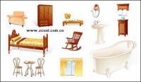 Muebles, artículos para el hogar icono material de vectores