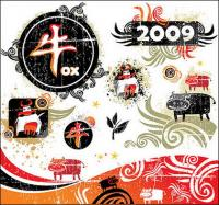 2009 Año del buey tendencia material de vector de elemento
