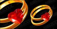 Сердце образный алмазов Золотое кольцо векторного материала