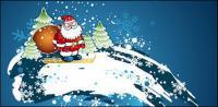 Matériau de vecteur ski Santa Claus