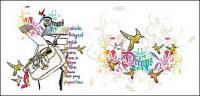 Le thème des femmes et des oiseaux matériel de vector illustrator