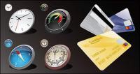 Reloj brújula tarjeta vector material