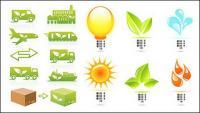 Delicado tema de la protección del medio ambiente icono material de vectores