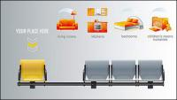 Chaires de bancs et du mobilier icône vecteur matériel