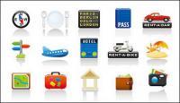 Icono material de tema de vectores set de viaje